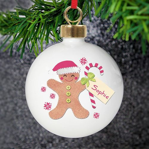 <!-- 00003 -->Personalised Felt Stitch Gingerbread Man Bauble