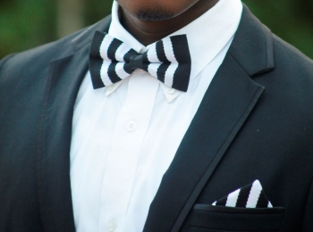 Black and White Kente Bow Tie