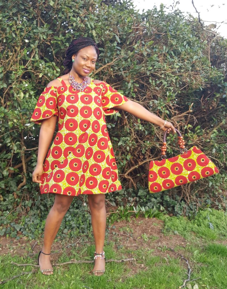 Red and Yellow Off Shoulder Dress