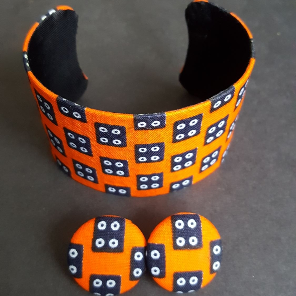 Orange Akua Cuff Bangle and Earring Set