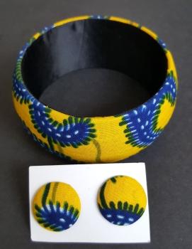 Yellow Serwa Bangle and Earring Set