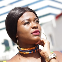3 Strand Orange Kente Print Choker