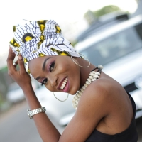 African Print Head Wrap/ White Peacock
