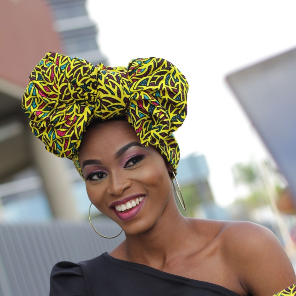 African Print Head Wrap/Yellow Maze