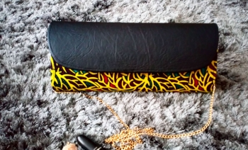 Yellow Maze Print and Faux Leather Clutch Bag