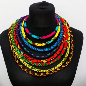 Ankara Cord Necklace /African Print l Layered Cord Neckace/ Ohema Necklace