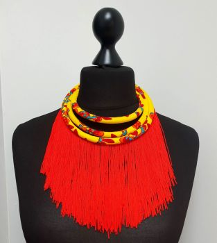 Red and Yellow Tassel Necklace
