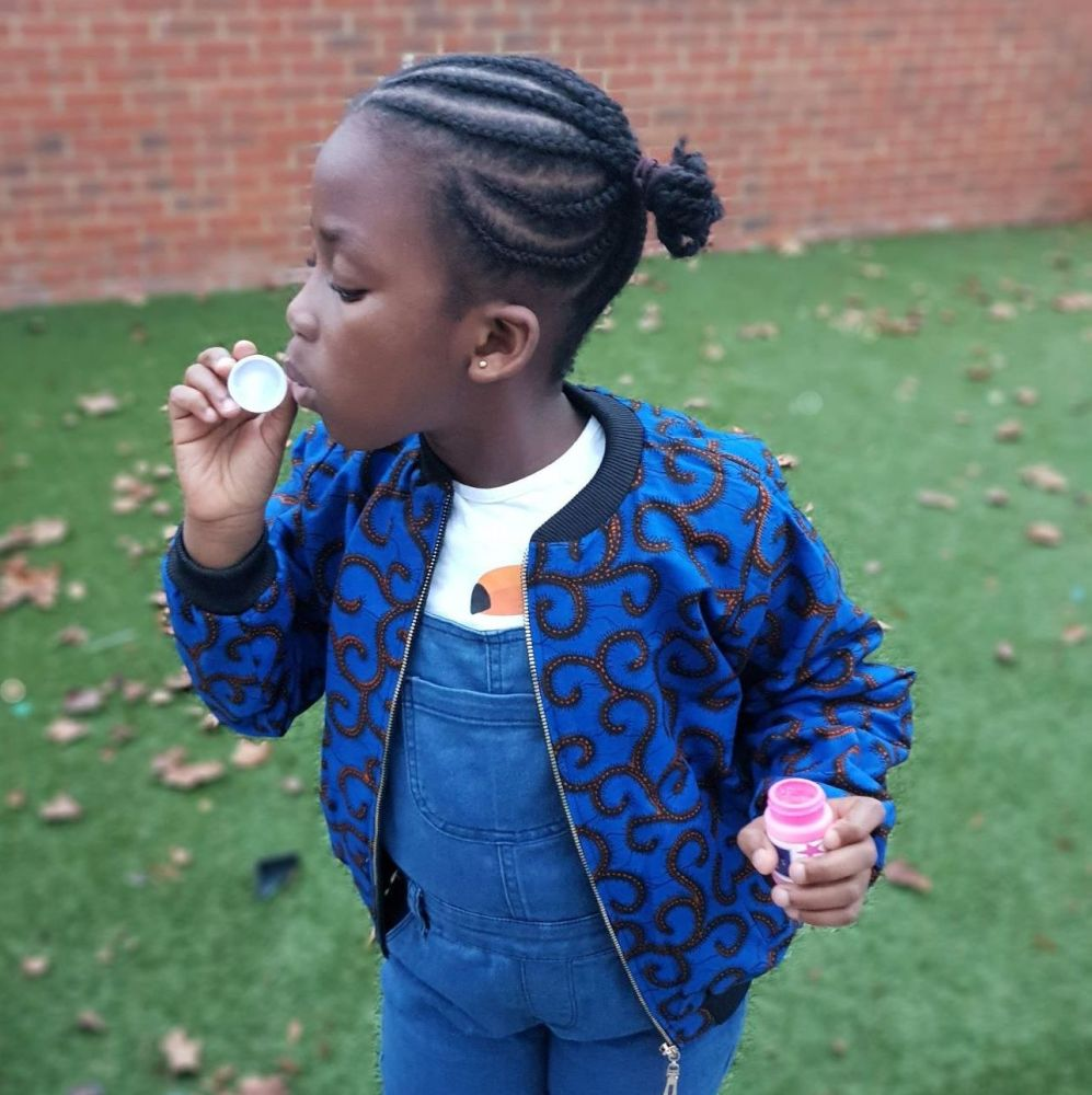 Children's Bomber/Aviator Jacket / Unisex / African Print Fabric / Blue Boo