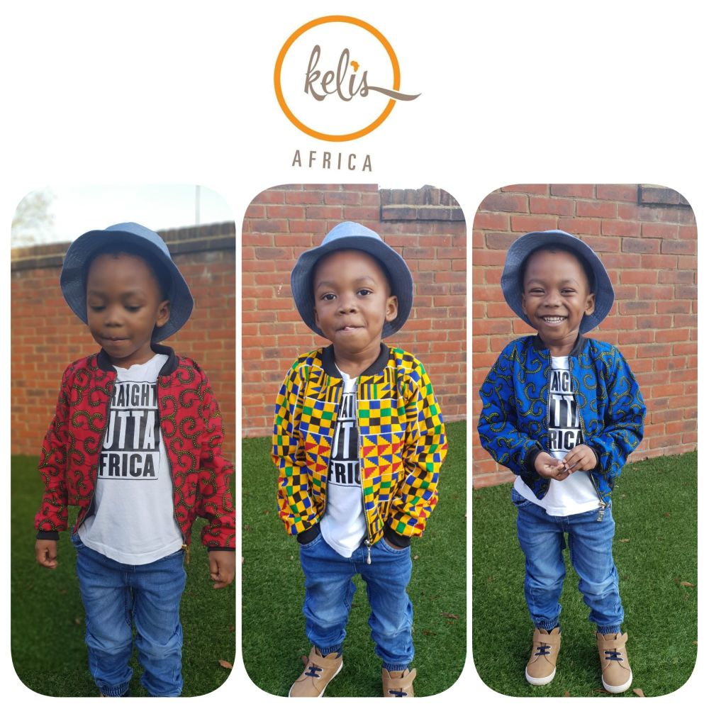 Children's Bomber/Aviator Jacket / Unisex / African Print Fabric / Blue Boo