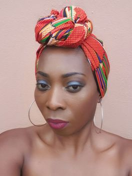African Print Head Wrap/  Kente Print Rainbow