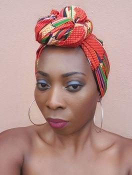 African Print Head Wrap/  Kente Print Zigzag