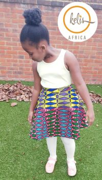 Girls African Print Skirt  / Diamonds