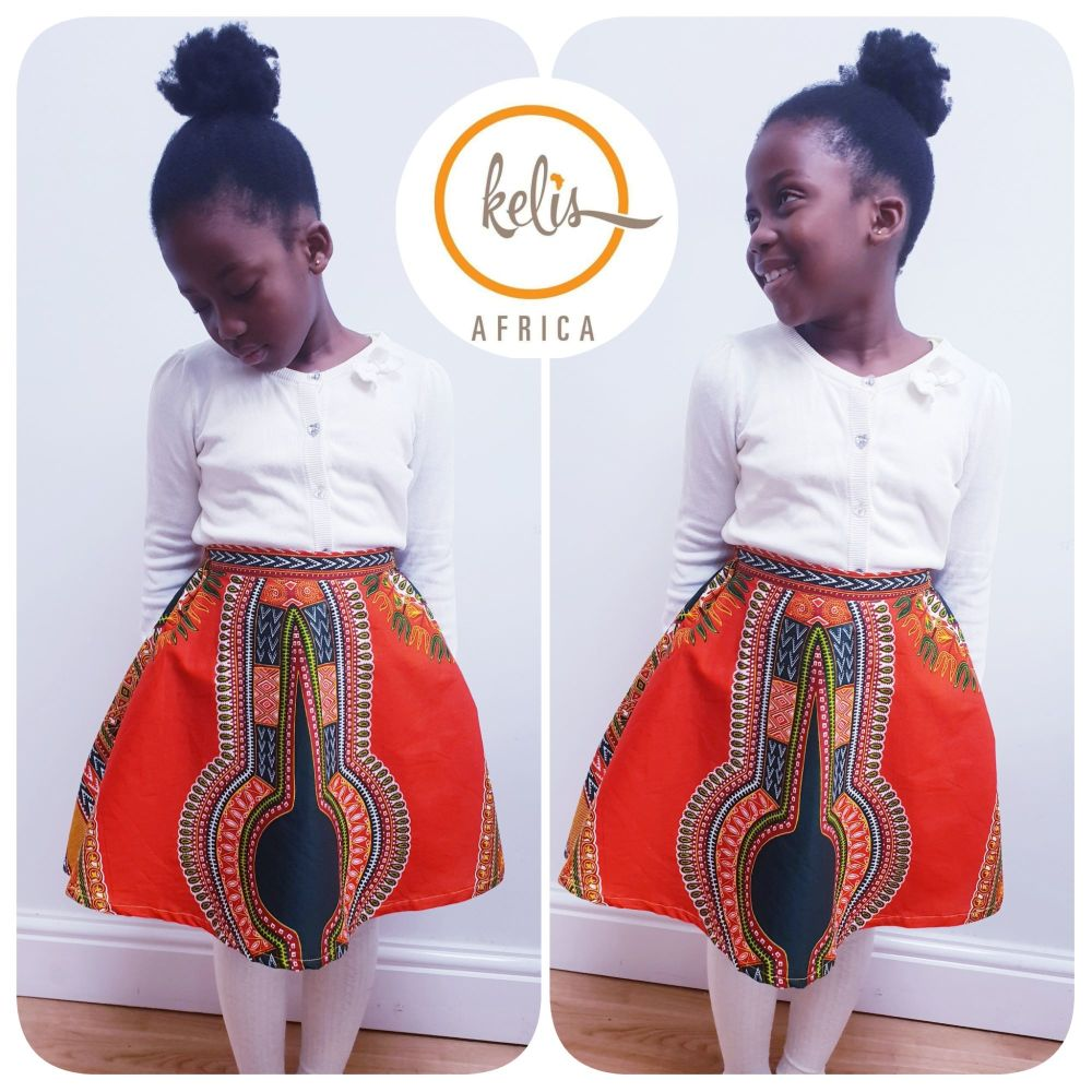 Girls African Print Skirt  / Orange Dashiki
