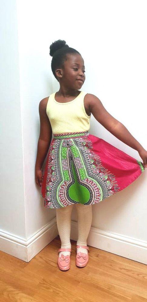 Girls African Print Skirt  / Pink Dashiki
