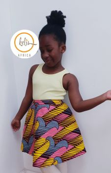 Girls African Print Skirt  / Candy
