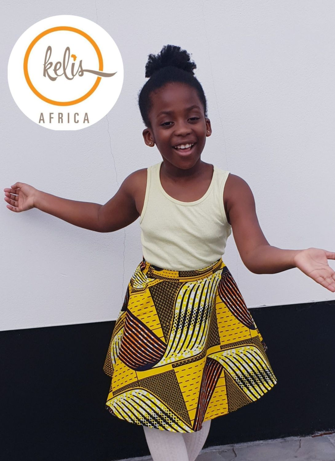 Girls African Print Skirt  / Hellow Yellow