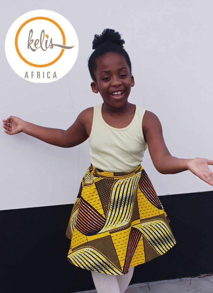 Girls African Print Skirt  / Hello Yellow