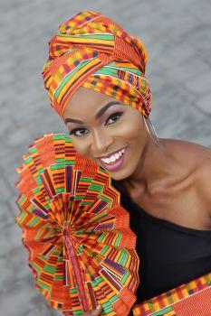 Supersize Africa Print Fan/Kente