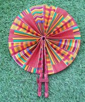 Africa Print Fan/ Orange Kente