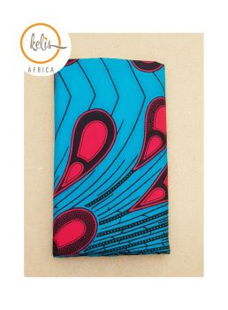 African Print Head Wrap/Blue Peacock