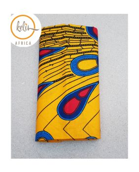 African Print Head Wrap/Yellow  Peacock