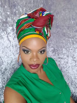 African Print Head Wrap/Purple Dua