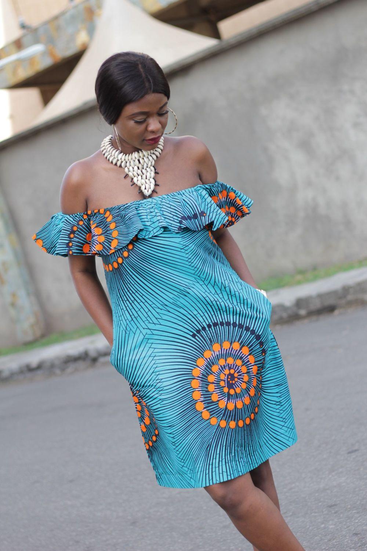 Turquoise Off Shoulder Dress