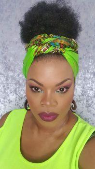 African Print Head Wrap/ Green  Dashiki