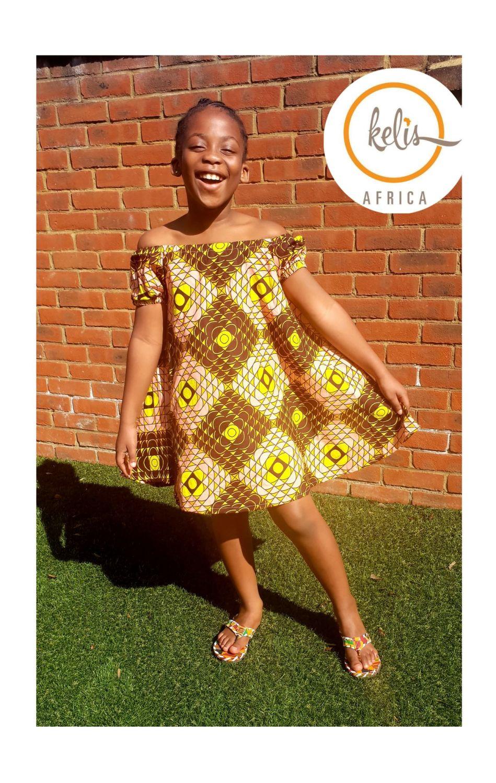 Girls African Print Dress   / Hello Yellow