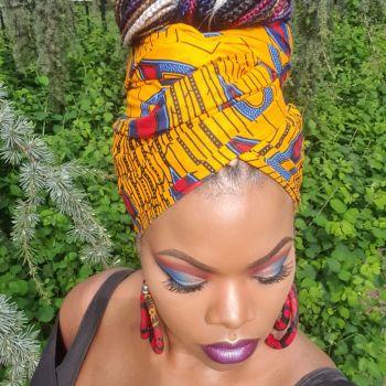 African Print Head Wrap/Yellow  Peacock