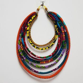 Ankara Cord Necklace /African Print l Layered Cord Neckace/ Ohema Necklace