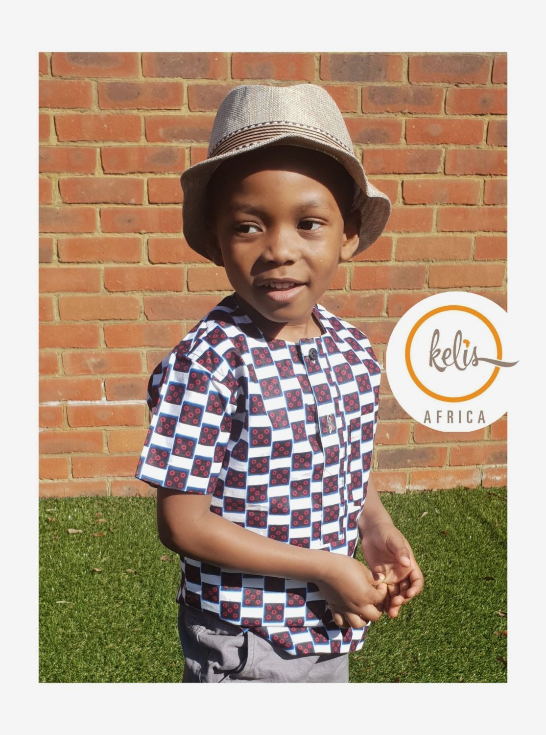 African Print Boys Collarless Shirt/ Cubes Jumper