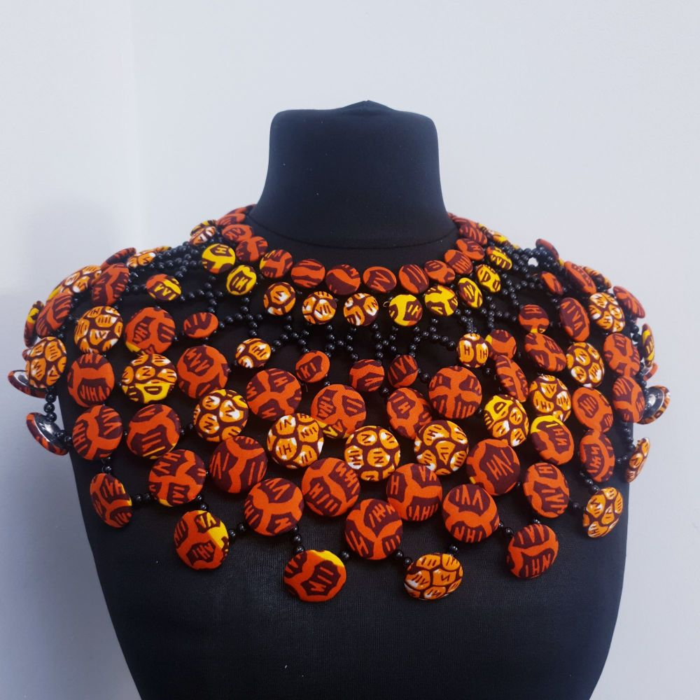 Ankara Button Cape/ Cluster/ Orange