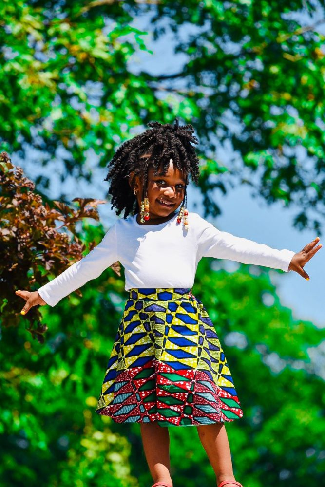 Girls African Print Skirt  / Diamonds