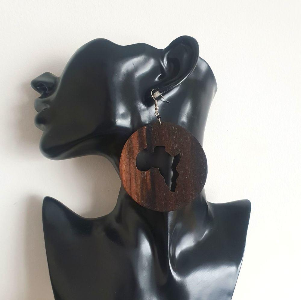 Wooden Earrings/ African Circle