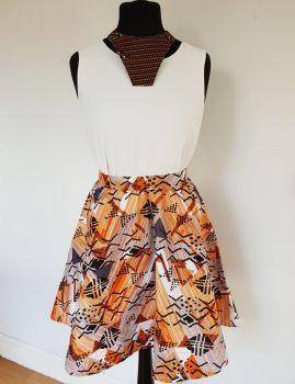 Midi Skirt/ Mud Cloth Print