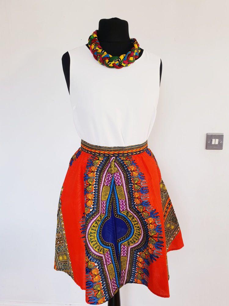 Orange  Dashiki Print Shirt