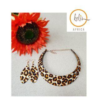 Choker Earring Set /Leopard Print