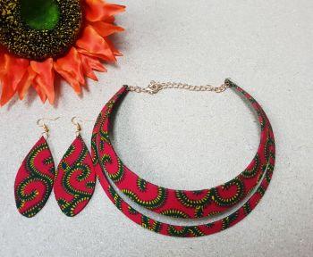 Choker Earring Set / Red Roni