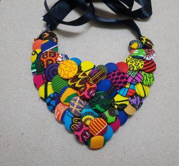 Ankara Button Bib Necklace/ Neck Candy/ Heart