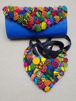 Button Clutch Bag/ Blue