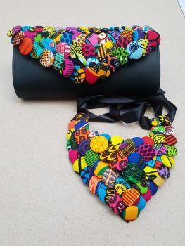 Button Clutch Bag/ Black