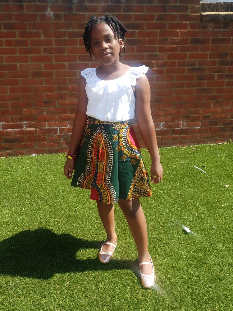 Girls African Print Skirt  / Green Dashiki