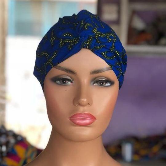 African Print Turban / Blue Roni