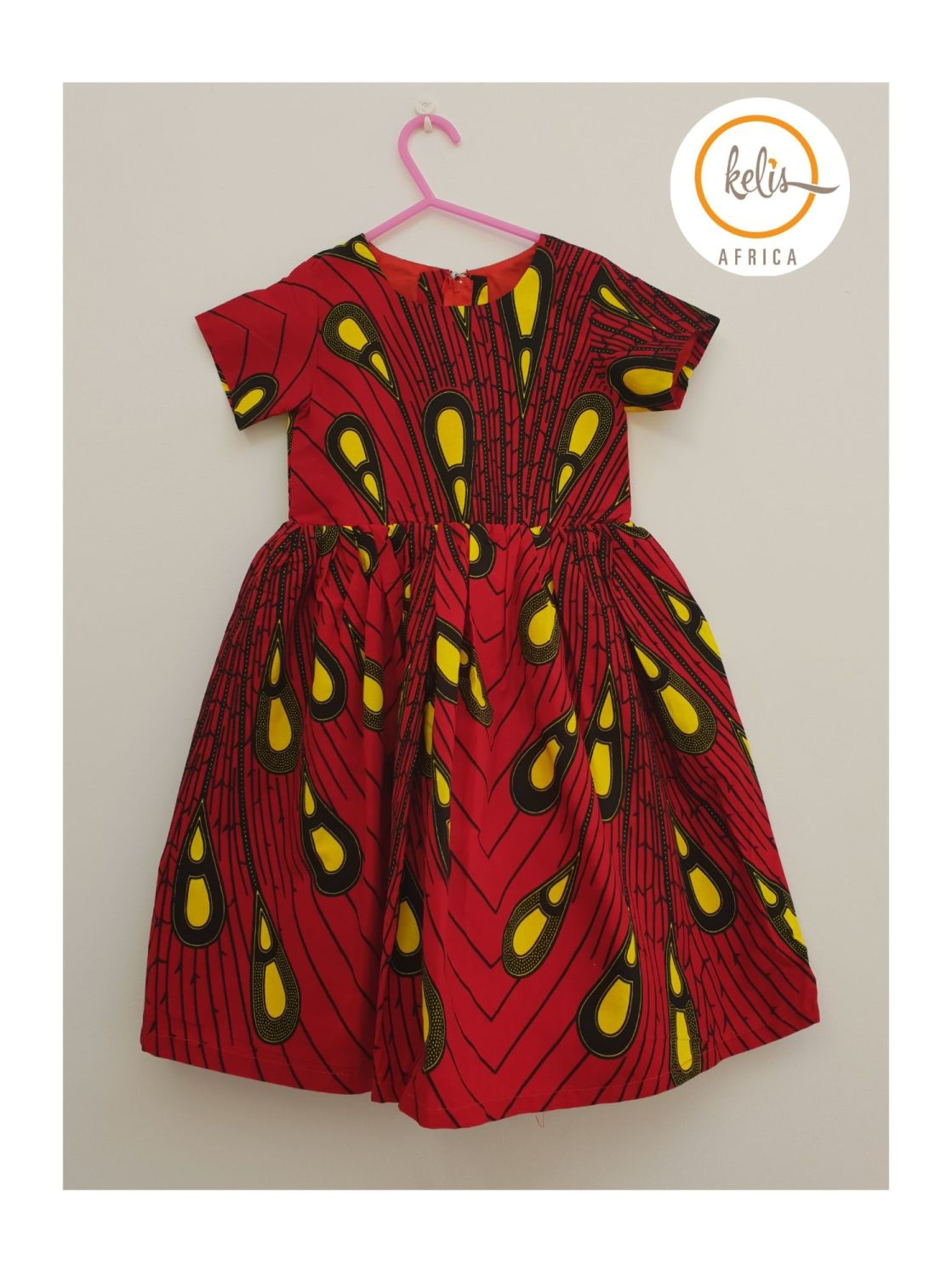 Girls African Print Dress   / Red Peacock