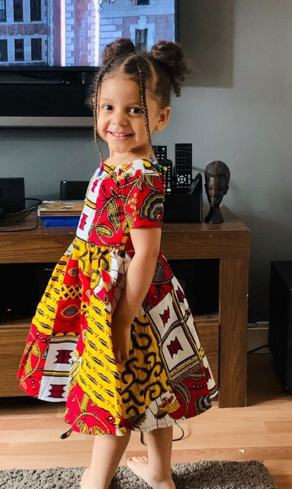Girls African Print Dress   / Kuay