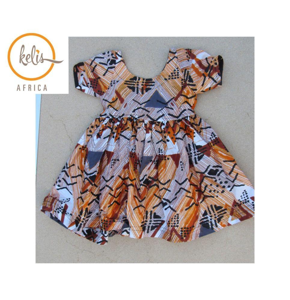 Girls African Print Dress   / Mudcloth