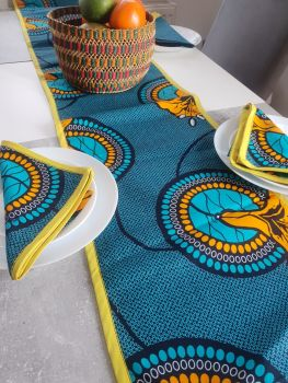 African Print /Table Runner and 6 Napkins Dining Table Set / Hevi