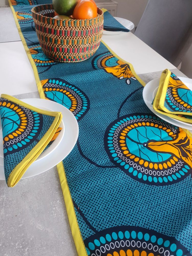 African Print /Table Runner and 6 Napkins Dining Table Set /