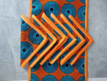 African Print /Table Runner and 6 Napkins Dining Table Set / Orange Subro